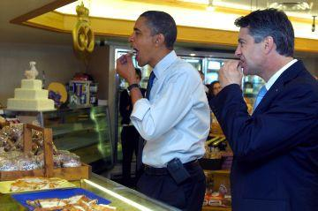 Mayor John Dickert found not guilty at Jury Trial. Seen here with President Barack Obama